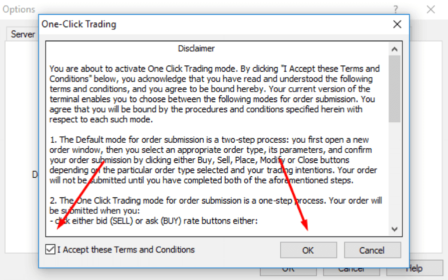 One-Click Execution Trading - Terms