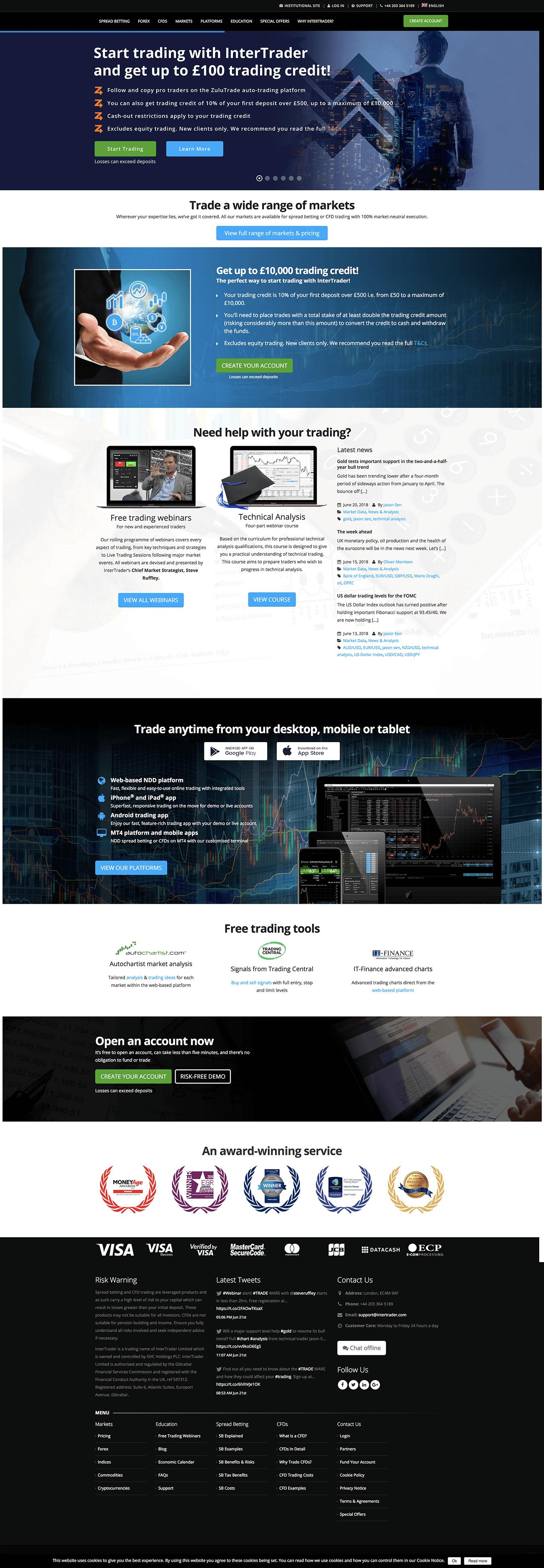 Intertrader spread betting best website to bet on nfl