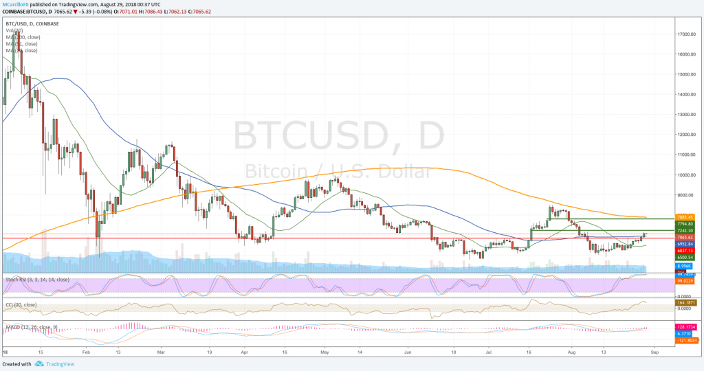 BTC/USD daily chart August 28